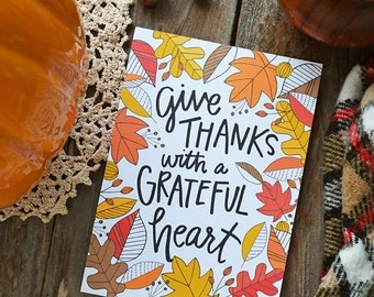 Give Thanks with a grateful heart, Gather, Happy Fall, Seasonal Decor, Autumn, Illustration, Thanksgiving, Fall Decoration, Print, leaves