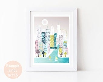 Chicago Print, Art illustration Poster Skyline Wall Art, Cityscape Posters Prints, Home Wall Decor, Office Nursery Prints. Style: SPPC1