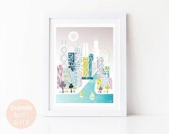 Stampa di Chicago, arte illustrazione Poster Skyline Wall Art, stampe di poster di paesaggio urbano, Home decorazione della parete, ufficio vivaio stampe. Stile: SPPC1