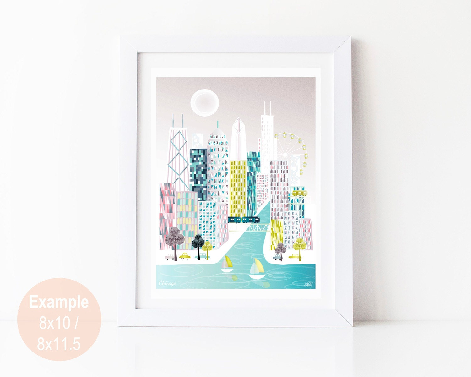 Chicago Poster Etsy - Chicago el map poster