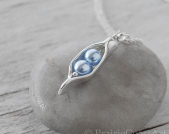 Two Pea Pod Necklace - Blue Pearl Pea Pod - Silver Pea Pod Mother's Necklace - Mom's Pearl Peas in a Pod Pendant - Push Gift - Two Peas