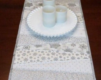 Quilted Table Runner, 5 Foot Long, Pieced Wedges, White and Silver