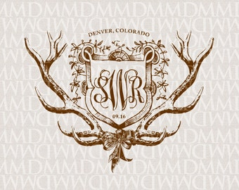 Shield and Antlers Wedding Logo - Wedding Crest - Wedding Monogram - Rustic Wedding