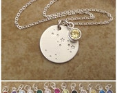 Constellation necklace - Your choice of Custom Zodiac jewelry - Birthstone, Moon, stars, Sterling silver necklace