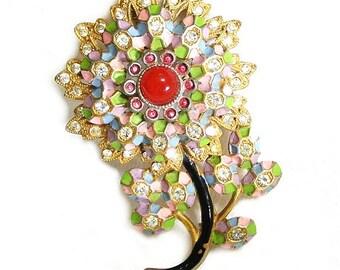 Art Deco Pastel Enamel and Paste Flower Brooch