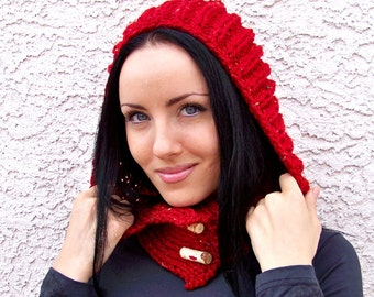 Knitting PATTERN, Knit Hooded Scarf Pattern, Hood Scarf Pattern, Knitted Hood Cowl, Pixie Hood Pattern, Little Red Riding Hood