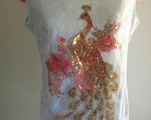 resort wear, resort dress, asian dress, bird dress, sequinned bird, glamour resort, couture resort, beads rhinestones