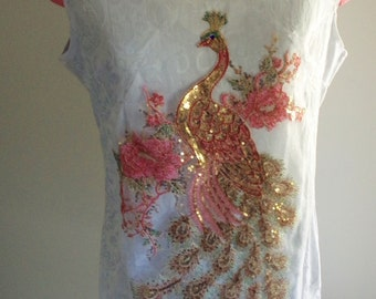 resort wear, resort dress, asian dress, bird dress, sequinned bird, glamour resort, couture resort, beads rhinestones