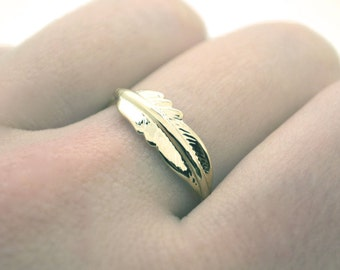 Ring feather gold plated gift women girl apach indian Amerindien bague cadeau plume france or dore fine bird little mini superposable oiseau