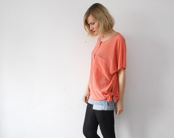 80s pastel coral silk blouse. slouch silk top - large