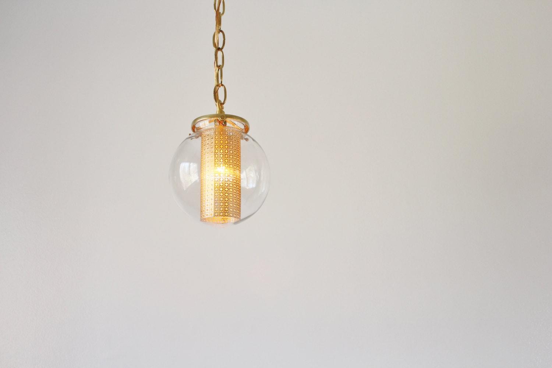 Modern Globe Pendant Lighting : Globe pendant light modern hanging lamp clear glass