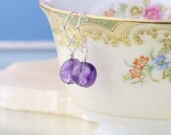 Amethyst Earrings Sterling Silver - February Birthstone Earrings - Gemstone Nugget Dainty Earrings - Purple Gemstones
