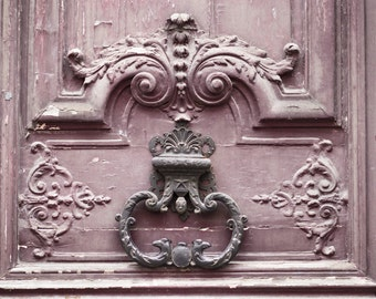 Paris  Photography - Mauve Door and Knocker, Paris Art Print, French Home Decor, Large Wall Art, Travel Photography, Gallery Wall