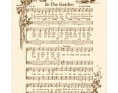 IN THE GARDEN - Hymn Art Christian Home Decor VintageVerses Sheet Music Wall Art Sepia Brown