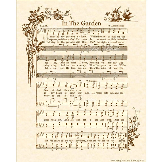 IN THE GARDEN Hymn Art Christian Home Decor VintageVerses