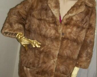 1940s Rare Butterscotch Mink Fur Chubby Coat Size M Gorgeous