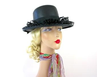 Vintage60s Straw Sou'wester Hat Black Fine Straw w Raffia Lace Ruffle Large Bowby Alfreda size 22