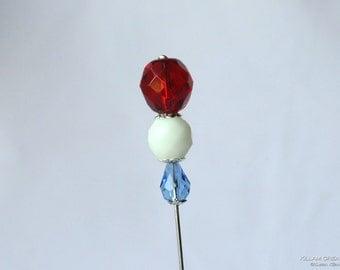 Patriotic Stick Pin, Red White Blue, Hat Pin, Lapel Pin, Ascot Pin, Hijab Pin, H0344