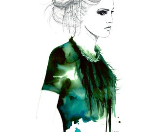 Emerald Edge, print from original watercolor and pen fashion illustration by Jessica Durrant