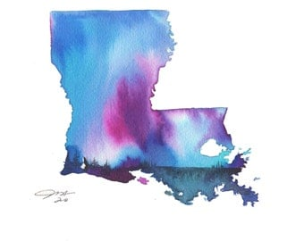 Louisiana Blues, print from original watercolor illustration by Jessica Durrant from the Painting the 50 States Project.