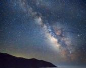 Big Sur Photography Milky Way Photography California Coast Photo Stars Night Blue Clouds Seascape Wall Art nat128