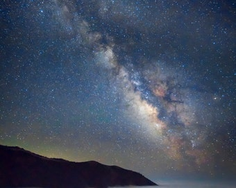 Big Sur Photography Milky Way Photography California Coast Photo Stars Night Blue Clouds Seascape Wall Art nat128