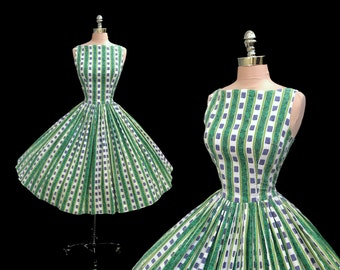 Vintage 1950s Mayan Symbols Novelty Print Cotton Full Skirt Party Dress S