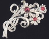 Retro 1940s Vintage Floral Brooch with Brilliant Red and Clear Crystal Rhinestones / 1940s Brooch / 1940s Jewelry