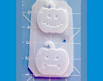 "SALE 2 2""Funny Face Pumpkins #2  Handmade Plastic Resin Mold"