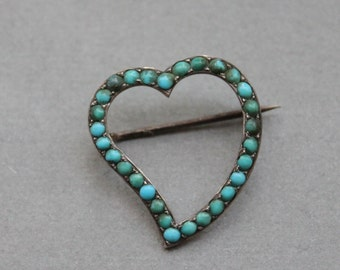Large Georgian Witches Heart Brooch with Persian Turquoise and Silver