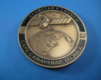 Vintage Cape Canaveral Florida Bronze Echostar V Rocket booster Launch Medallion, Rocket Program, Rockets, Outer Space Collectibles, Rockets