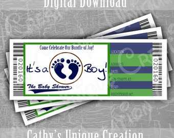 Baby Boy Shower Invitation Tickets Baby Shower Invitations Blue and Green Printable Letter A4 INSTANT DIGITAL download sports theme baseball