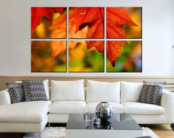 Canvas Prints - Leaves Canvas Art - Leaves Canvas Print - Leaves Prints on Canvas - Autumn Wall Art - Framed Ready to Hang  - Forest Decor