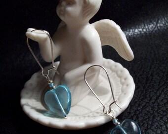 Petite Baby Blue Heart Earrings