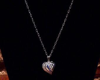 Repurposed Sterling Silver Puff Heart Pendant