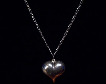 Repurposed Sterling Silver Pillow Heart Pendant