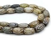 Tibetan Jade Tube Beads, 21pcs,  20x12mm, Gemstone Beads, Earthy Stone Beads  -B83