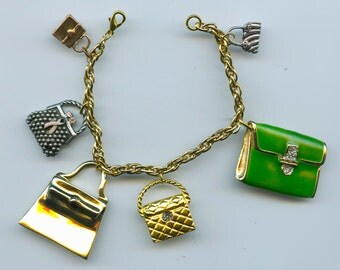 Shopping Purse Theme Charm Bracelet from recycled items
