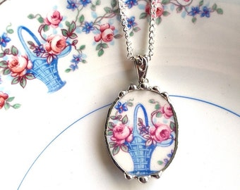 Broken China Jewelry pendant necklace antique pink roses in basket unique china