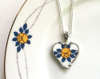 Recycled china Broken China Jewelry heart pendant necklace antique porcelain Art Nouveau yellow rose