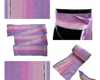 Lavender Sash SA15 - Purple Sash Belt - Bohemian Clothing Women - Boho Chic Fashion - Guatemalan Fabric - Woven Belt - Boho Accessories