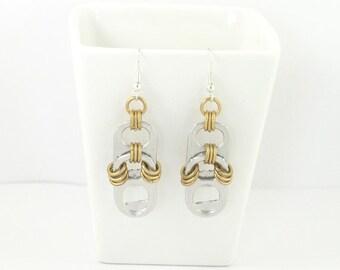 soda tabs and brass  chainmaille earrings, pop tab earrings, pull tab earrings, recycled earrings, upcycled earrings