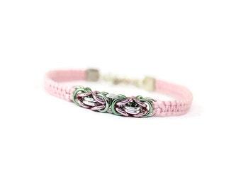 Pastel Pink Bracelet, Chainmaille Bracelet, Byzantine Bracelet, Green and Pink Bracelet, Cord and Chainmaille Bracelet, Cord Bracelet