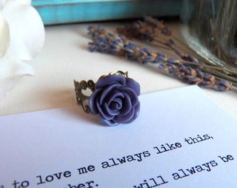 Vintage Style Floral Ring - Dark Purple Flower - Antiqued Brass Ring - Handmade Jewelry by HoneyNest