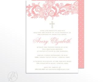 The Avery Lace Baptism Invitation / Christening Invitation / Girl Baptism Announcement / Elegant Baptism Invitations / Lace Invitations