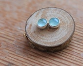 Aqua Stone and Silver Earrings