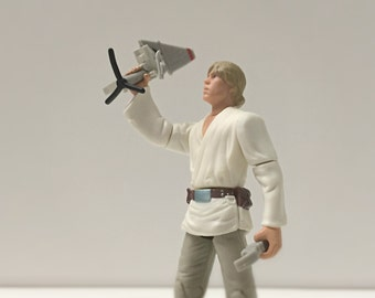 Vintage Star Wars Figure Luke Skywalker w/ T-16 Skyhopper & Display Stand - 90's Kenner Star Wars Toy from A New Hope - Fathers Day Gift