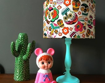 Mexican Clown Skulls Handmade Lampshade in Multi colours
