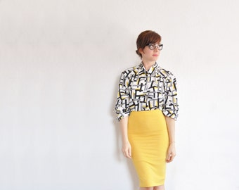 yellow black white geometric 80s blouse . shape line pattern . retro office top .medium .sale s a l e