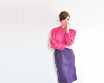neon fuchsia pink blouse . pleated v neck . semi sheer magenta .medium .sale s a l e